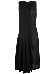 Comme Des Garcons Pleated Flared Dress Polyester Black