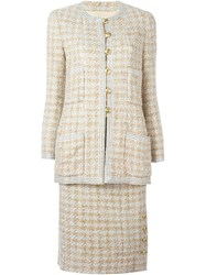 Chanel Vintage Woven Suit Nude And Neutrals