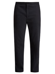 Acne Studios Pace Drawstring Hem Straight Leg Wool Trousers Navy