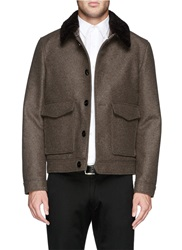 Hardy Amies Lambswool Collar Felt Blouson Jacket Brown