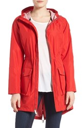 Michael Michael Kors Women's Hooded Raincoat Red White