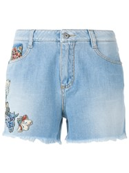 Ermanno Scervino Flora Embellished Shorts Blue