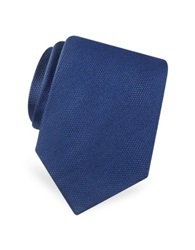 Forzieri Gold Line Solid Classic Woven Silk Tie Dark Blue