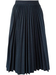 Msgm Pleated A Line Skirt Blue