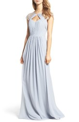Hayley Paige Occasions Women's Cap Sleeve Lace And Chiffon Gown Silver Metallic Platinum