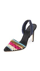 Tory Burch Isle Slingback Pumps Black Multi Color Navy Sea