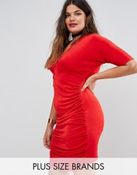 Missguided Plus Ruched Bodycon Dress Red