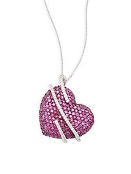 Effy Diamond Ruby And 14K White Gold Heart Pendant Necklace Red