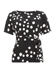 Linea Jersey Polkadot Batwing Top Black And White Black And White
