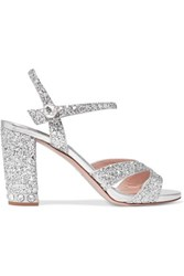 Miu Miu Crystal Embellished Glittered Leather Sandals Silver