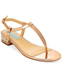 Blue By Betsey Johnson Evie T Strap Evening Sandals Women's Shoes Rose Gold