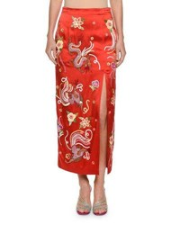Attico Envers Embroidered Dragon Satin Slim Skirt With Sequins Trim