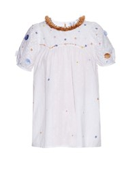 Thierry Colson Olympia Garden Embroidered Short Sleeved Shirt White Multi