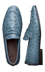 Bougeotte Flaneur Loafer In Blue Ostrich