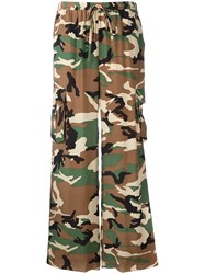 P.A.R.O.S.H. Camouflage Print Trousers Women Silk S Green