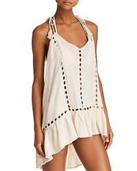 Surf Gypsy Embroidered Trim Gauzy Dress Swim Cover Up Pale Pink