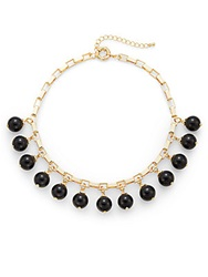 Saks Fifth Avenue Beaded Bib Necklace Black