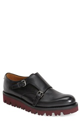 Valentino Double Monk Strap Shoe Men Black Red Leather