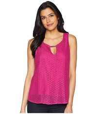Ellen Tracy Sleeveless Eyelet Lace Blouse Orchid Purple