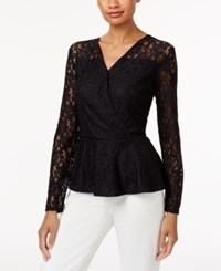 Thalia Sodi Lace Peplum Top Created For Macy's Deep Black