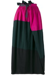 Kolor Tricolour Skirt Women Cotton Nylon 2 Black