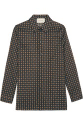 Gucci Printed Cotton Poplin Shirt Navy