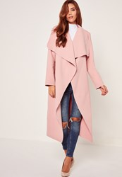 Missguided Oversized Waterfall Duster Coat Pink Mauve