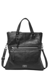 Fossil Dawson Leather Foldover Tote Black