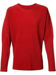 Homme Plisse Issey Miyake Long Sleeve T Shirt Men Polyester 4 Red