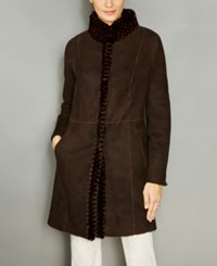 The Fur Vault Mink Trim Shearling Lamb Coat Choco Brown