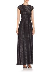 Shoshanna Iliana Shadow Stripe Gown Jet