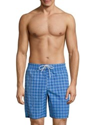 Lacoste Gingham Print Long Taffeta Swim Trunks Sapphire Blue White