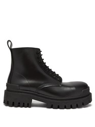 Balenciaga Tread Sole Leather Boots Black