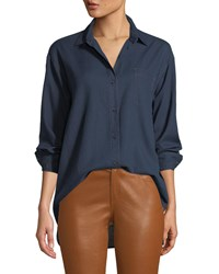 Lafayette 148 New York Everson Nocturnal Cotton Pocket Blouse Medium Blue