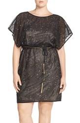 Sangria Belted Embellished Sheer Blouson Dress Plus Size Black Gold