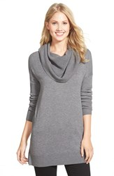 Women's Caslon Side Slit Cowl Neck Tunic Heather Dark Grey