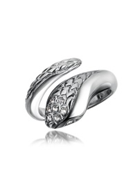 Just Cavalli Secret Crystal Diamondback Snake Ring Silver