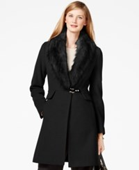 Ivanka Trump Faux Fur Trim Shawl Collar Coat Black