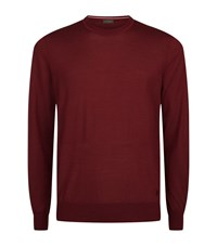 Z Zegna Merino Wool Knit Sweater Male Wine