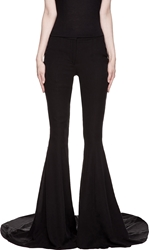 Gareth Pugh Black Silk Flared Train Runway Trousers