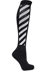 Off White Metallic Striped Cotton Blend Socks Black