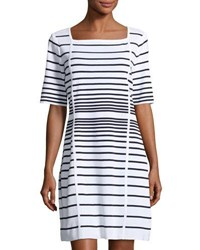 Misook Short Sleeve Striped Dress White Blue