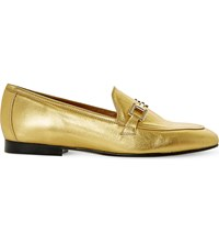 Dune Guru Metallic Leather Loafers Gold Metalic