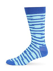 Happy Socks Crew Patterned Cotton Blend Mid Calf Bright Blue