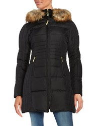 Vince Camuto Slim Fit Faux Fur Hooded Puffer Jacket Black