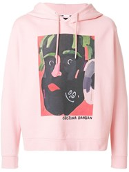 House Of Holland Illustrated Print Hoodie Pink