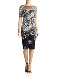 Badgley Mischka Tulle Yoke Glitter Floral Dress Black White