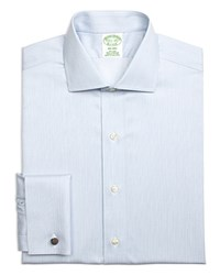 Brooks Brothers Non Iron Frame Stripe French Cuff Regular Fit Dress Shirt Blue