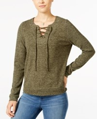 Hippie Rose Juniors' Lace Up Marled Pullover Top Olive Branch