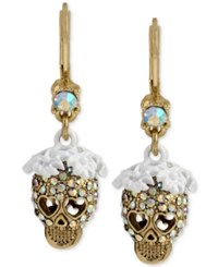 Betsey Johnson Gold Tone White Flower Glitter Skull Drop Earrings
